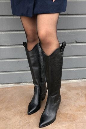 meyce Kadın Siyah Sivri Burun Işlemeli Uzun Kovboy Bot Çizme 1