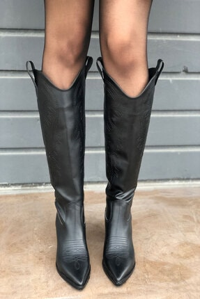 meyce Kadın Siyah Sivri Burun Işlemeli Uzun Kovboy Bot Çizme 3