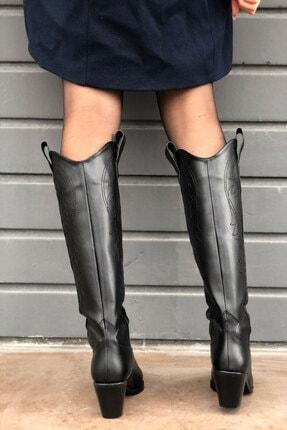 meyce Kadın Siyah Sivri Burun Işlemeli Uzun Kovboy Bot Çizme 4