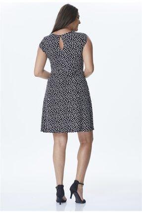 Myline Kadın Siyah Puantiyeli Penye Elbise PE6R 1