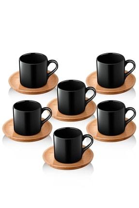Queen's Kitchen Doğal Ahşap Tabaklı 6 Kişilik Kahve Takımı 0