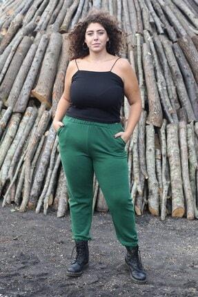 Curly Store Kadın Yeşil Cepli Büyük Beden Eşofman Altı 0
