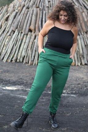 Curly Store Kadın Yeşil Cepli Büyük Beden Eşofman Altı 1