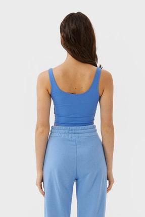 Stradivarius Kadın Mavi Crop Fit Kolsuz T-Shirt 02517784 1