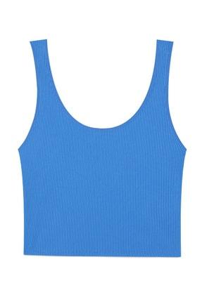 Stradivarius Kadın Mavi Crop Fit Kolsuz T-Shirt 02517784 4