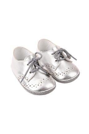 Picture of Bağcıklı Deri Bebek Ayakkabısı Gümüş