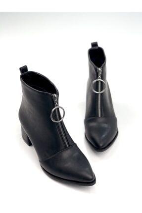 Ayakkabı Ajansı Kadın Siyah Ortadan Fermuarlı Bot 2