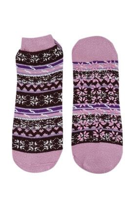 NZR GROUP Kadın Pembe Termal Çorap Poffy Kaydırmaz Tabanlı 0
