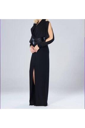 NİLMARK Kadın Siyah Kruvaze Elbise 0