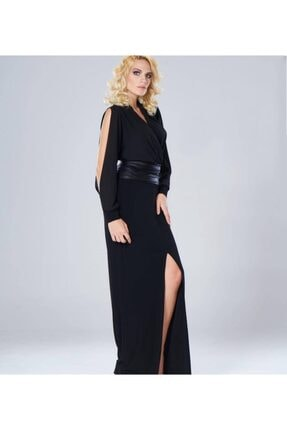 NİLMARK Kadın Siyah Kruvaze Elbise 1