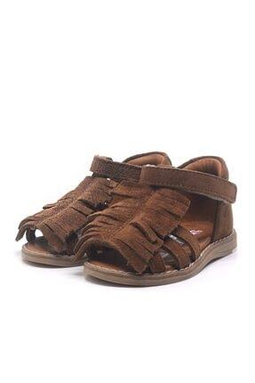 Toddler Kız Bebek Kahverengi Hakiki Deri Püsküllü Ortopedik  Sandalet 2
