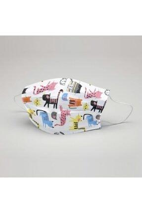 Ceremio 50 Adet Meltblown'lu Kız Çocuk 3 Katlı Full Ultrasonik Geniş Lastikli Burun Telli Yüz Maskesi 4