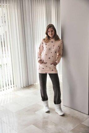 Anıl Kadın Pembe Kışlık Polar Kapüşonlu Sweatshirt Pijama Takım 9558 0