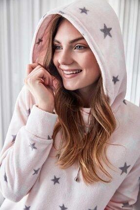 Anıl Kadın Pembe Kışlık Polar Kapüşonlu Sweatshirt Pijama Takım 9558 1
