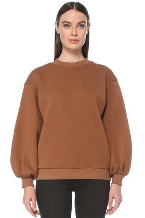 Kadın Kahverengi Kahverengi Bisiklet Yaka Sweatshirt 1077835