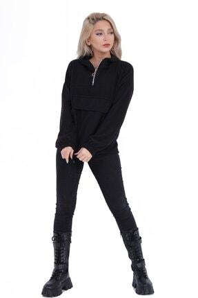 sert vip Kadın Siyah Yarım Fermuarlı Sweatshirt 1