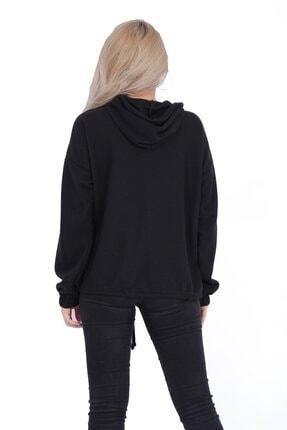 sert vip Kadın Siyah Yarım Fermuarlı Sweatshirt 2