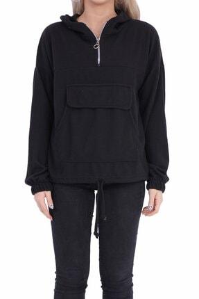 sert vip Kadın Siyah Yarım Fermuarlı Sweatshirt 3