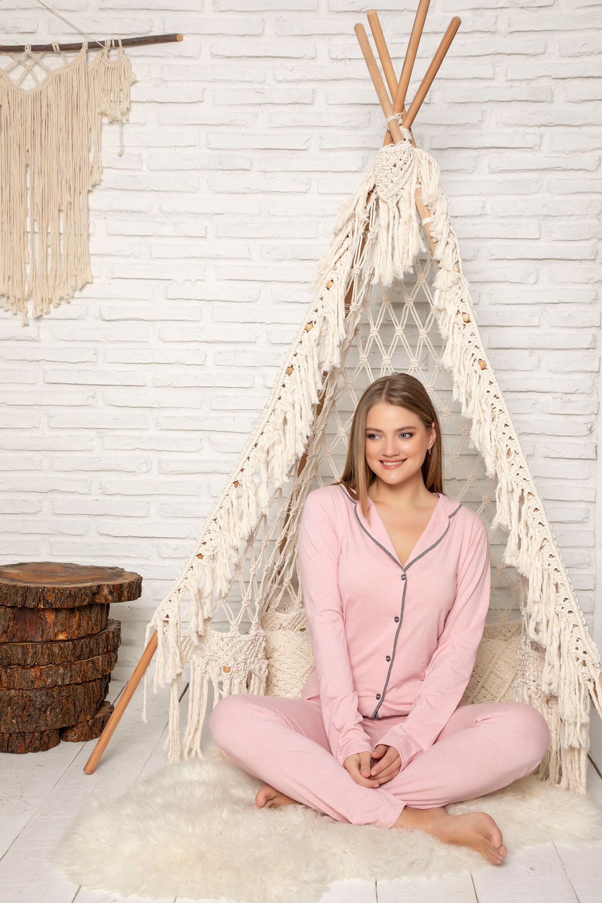 Strawberry Kadın Pudra Pamuklu Düğmeli Pijama Takim 0