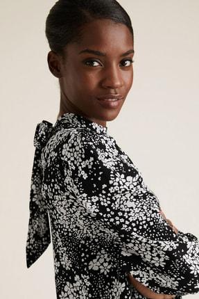 Marks & Spencer Kadın Siyah Çiçek Desenli Dik Yakalı Bluz T43003257 0