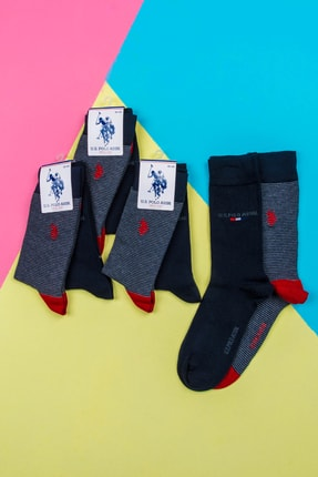 Picture of 6' Lı Us Polo Pamuklu Lacivert Kırmızı Çizgili Çorap