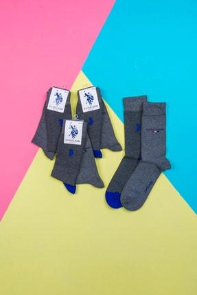 Picture of 6' Lı Us Polo Pamuklu Gri Mavi Çizgili Çorap