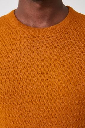 TRENDYOL MAN Sarı Erkek Bisiklet Yaka Triko Kazak TMNAW21KZ2057 3