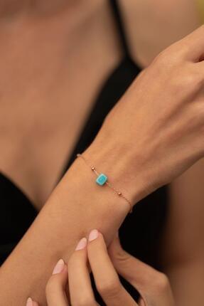 İzla Design Kadın Mavi Boncuk Model Toplu Rose Kaplama Gümüş İtalyan Bileklik PKT-TLYSLVR0064 1