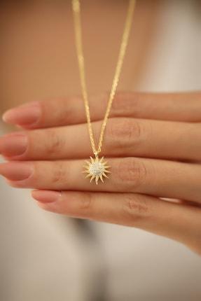 İzla Design Kadın Güneş Model Altın Kaplama Zirkon Taşlı Gümüş Kolye PKT-İZLASLVR00661 3