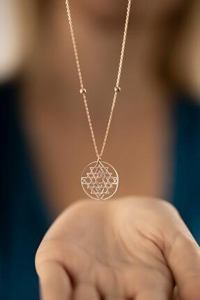 İzla Design Kadın Rose Kaplama Gümüş Sri Yantra Kolyesi 0
