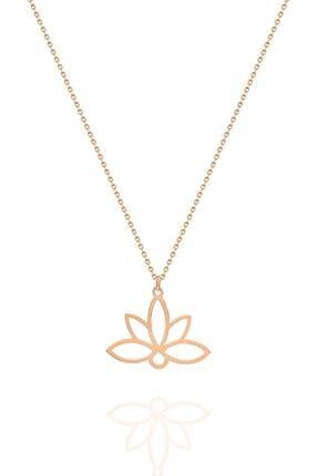 İzla Design Kadın Lotus Çiçeği Model Rose Kaplama Gümüş İtalyan Kolye 1