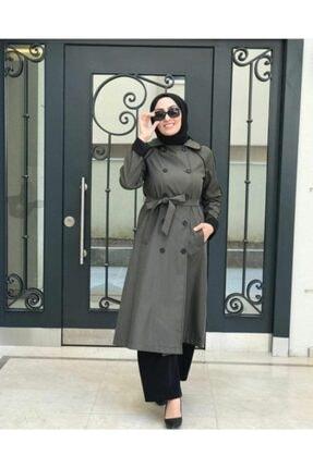 Loreen Kadın Haki Uzun Trençkot Dwklrn2503 3