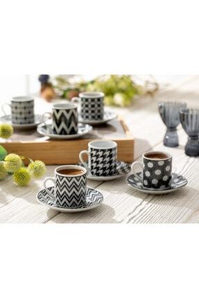 English Home Rony Porselen 12 Parça Kahve Fincan Takımı 80 ml Siyah 0