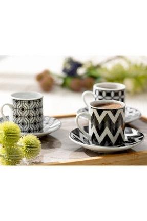 English Home Rony Porselen 12 Parça Kahve Fincan Takımı 80 ml Siyah 2