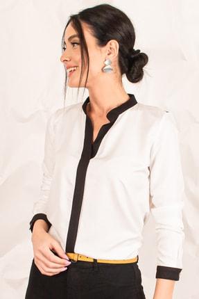 armonika Kadın Ekru Önü Şeritli Büyük Beden Gömlek ARM-20K001164 0