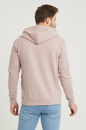 MODAMESTO Pembe Kapüşonlu Baskılı Panelli Kanguru Cep Sweatshirt 4