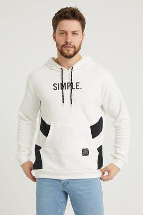 MODAMESTO Beyaz Kapüşonlu Baskılı Panelli Kanguru Cep Sweatshirt 0