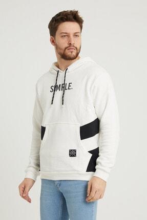MODAMESTO Beyaz Kapüşonlu Baskılı Panelli Kanguru Cep Sweatshirt 1