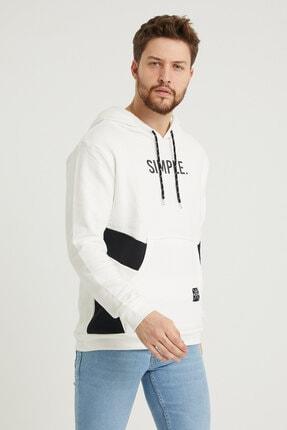 MODAMESTO Beyaz Kapüşonlu Baskılı Panelli Kanguru Cep Sweatshirt 2