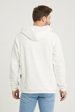 MODAMESTO Beyaz Kapüşonlu Baskılı Panelli Kanguru Cep Sweatshirt 4