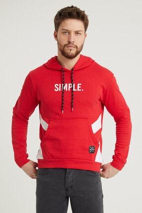 MODAMESTO Kırmızı Kapüşonlu Baskılı Panelli Kanguru Cep Sweatshirt 1