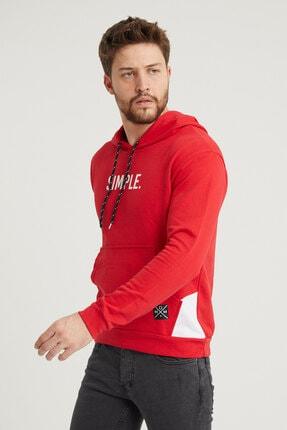 MODAMESTO Kırmızı Kapüşonlu Baskılı Panelli Kanguru Cep Sweatshirt 3