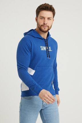 MODAMESTO Mavi Kapüşonlu Baskılı Panelli Kanguru Cep Sweatshirt 2