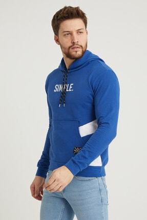MODAMESTO Mavi Kapüşonlu Baskılı Panelli Kanguru Cep Sweatshirt 3