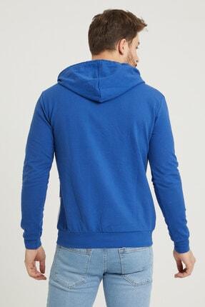 MODAMESTO Mavi Kapüşonlu Baskılı Panelli Kanguru Cep Sweatshirt 4