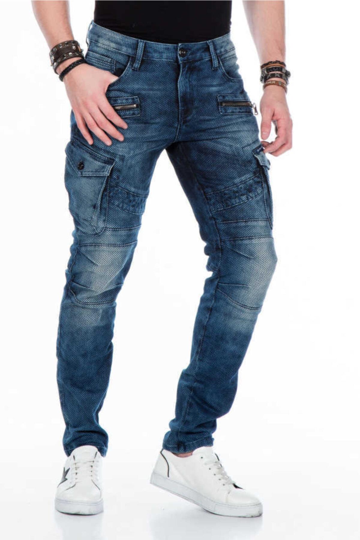 Erkek Mavi Live Fast Motorcu Tarzı Kargo Jeans