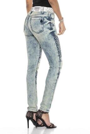 Cipo&Baxx Kadın Mavi Taşlı Nakışlı Skinny Kot Pantolon 4