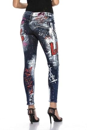 Cipo&Baxx Kadın Mavi Elle Boyanmış Grafiti Desenli Kot Pantolon 3