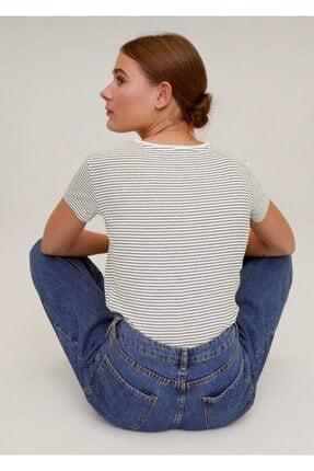 Mango Kadın Lacivert Pamuklu Logolu Tişört 67000604 2