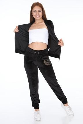 İkmal Kadın Siyah Kadife Eşofman Takım 0